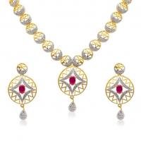 ATTRACTIVE CZ NECKLACE SET at Chique Fashion in Kolkata