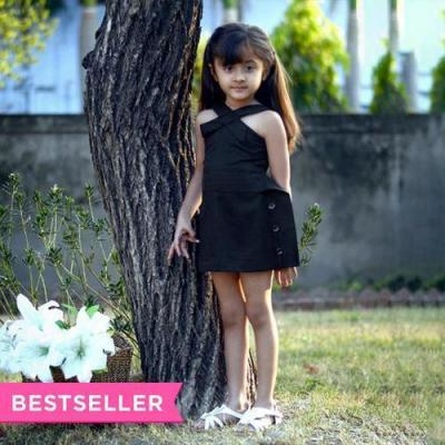Kids Designer Cotton Black Dress at Drape In Vogue in Indore