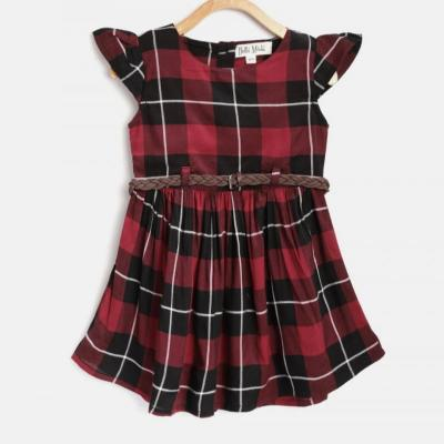CHECK COTTON FROCK at kids wear wholesale in Kothamangalam