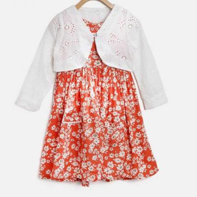 COTTON PRINTED FROCK WITH SHRUG at kids wear wholesale in Kothamangalam