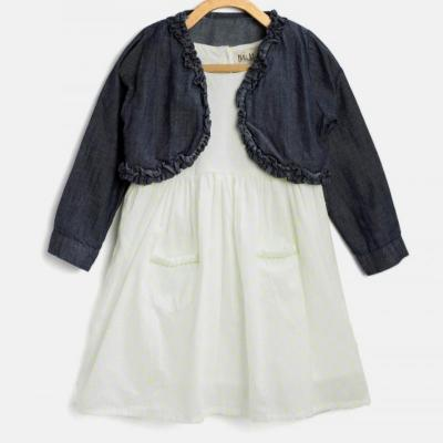 COTTON FROCK WITH SHRUG at kids wear wholesale in Kothamangalam